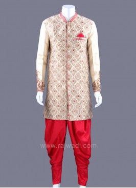 Zari Work Patiala Suit With Fancy Buttons