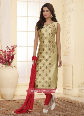 Zari Work Printed Straight Fit Salwar Suit