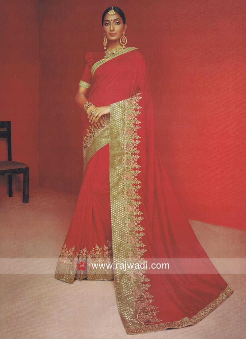Zari Work Saree in Red