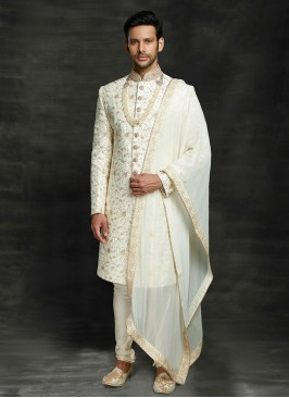 Zari Work Sherwani For Wedding