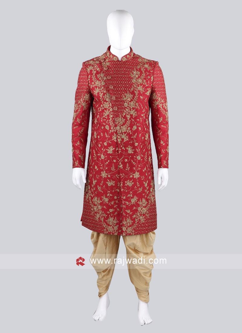 Zari Work Sherwani Suit