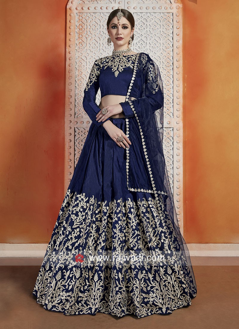 Zari Work Unstitched Art Silk Lehenga Choli
