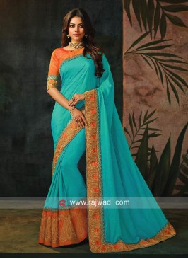 Zari Work Wedding Saree