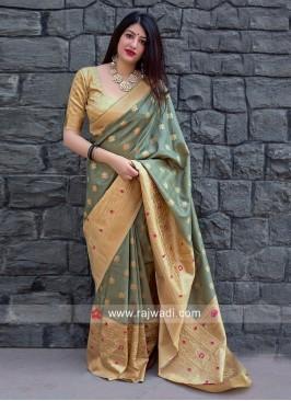Zari Woven Designer Sari with Blouse