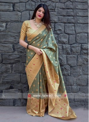 Zari Woven Designer Sari with Blouse