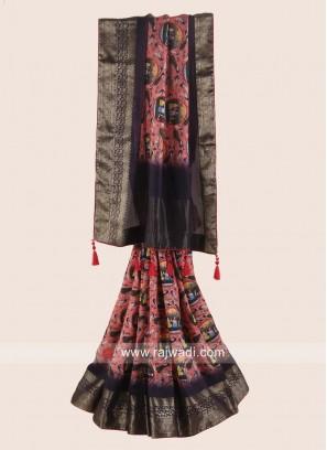 Zari Woven Printed Saree