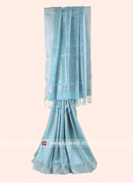 Zari Woven Saree in Aqua Blue