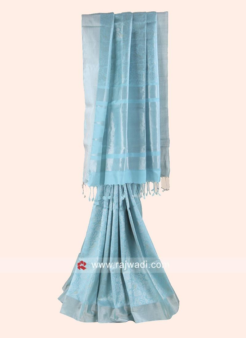 Zari Woven Saree in Aqua Blue