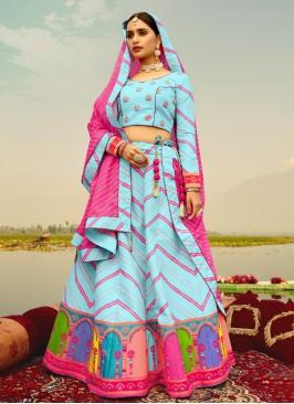 Zesty Blue Print Readymade Lehenga Choli