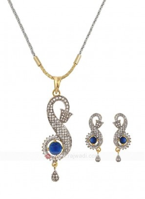 Zircon Blue Pendant Set with Earrings