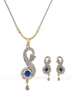 Zircon Blue Pendant Set with Earrings