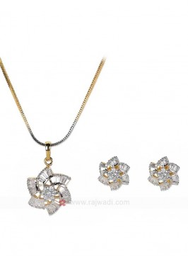 Zircon Flower Pendant Set