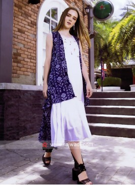 Cotton Kurti with Printed High Low Style Koti