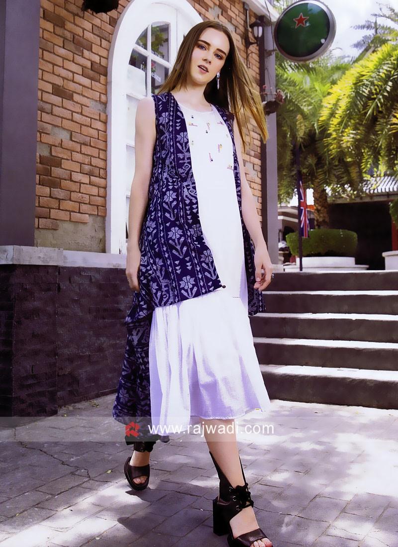 Cotton Kurti with Printed High Low Style Koti