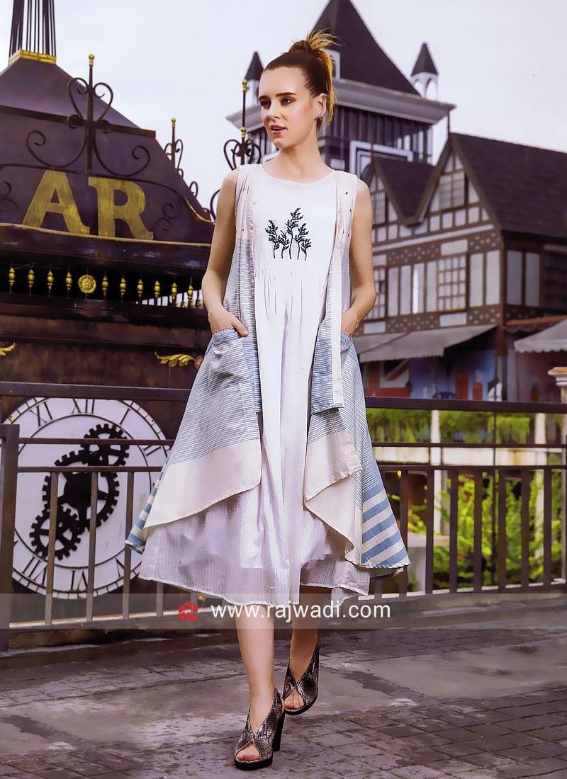 Cotton Layer Kurti with Long Koti