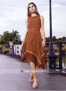 Cotton Rayon Asymmetrical Kurti with Belt