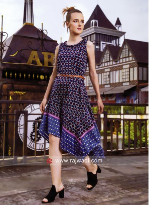 Zola Printed Asymmetrical Kurti with Belt