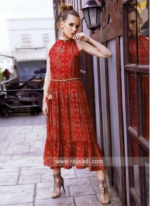 Red Printed Kurti with Keyhole Neckline