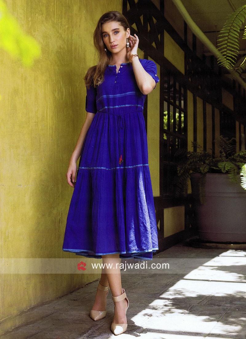 Royal Blue Cotton Kurti