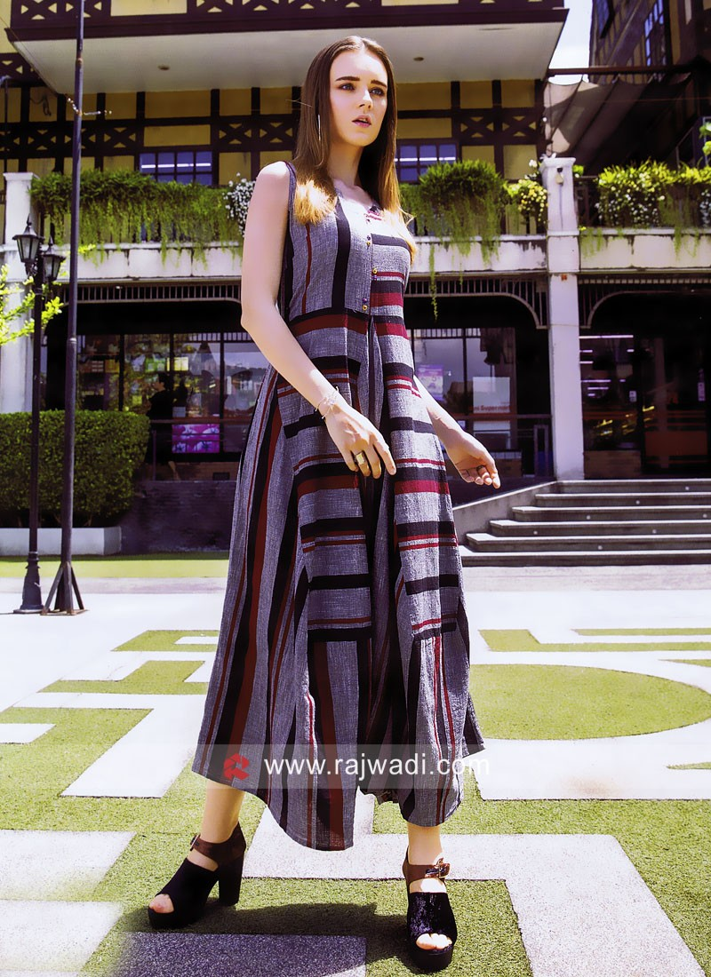 Stripes Kurti with Buttons