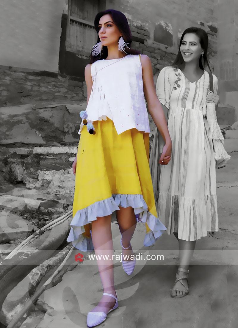 Layer Kurti with Kedia Style Checks Koti